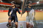 Natasha Hansen takes a break during training at the Olympic Park Velodrome in London. Picture / Mark Mitchell