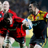 Liam Messam (R) on his way to scoring the first try during the Chiefs. Photo / Christine Cornege.