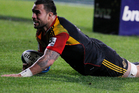 Chiefs' flanker Liam Messam scores against the Crusaders in last night's semifinal in Hamilton. Picture / Christine Cornege