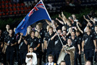 Nick Willis leads the New Zealand team into Olympic Stadium during the spectacular London 2012 Opening Ceremony. Photo / Mark Mitchell