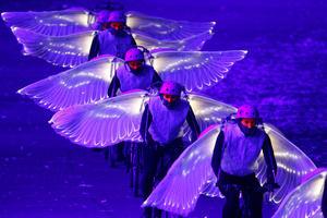Scenes during the spectacular London 2012 Olympic Games Opening Ceremony. Photo / NZ Herald Mark Mitchell