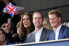 The Duke and Duchess of Cambridge with Prince Harry. Photo / AP