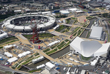 An aerial view of the London 2012 Olympic Park, with the Olympic stadium top left, with the Accor Mittal 'Orbit' Tower, centre. Photo / AP.