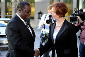 Australian Prime Minister Julia Gillard, right, meets with Zimbabwe Prime Minister Morgan Tsvangirai in Canberra, ahead of his visit to New Zealand. Photo / AP