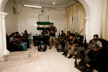 Free Syrian Army soldiers are seen at the border town of Azaz, 32 kilometres north of Aleppo, Syria. Photo / AP