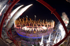 Fireworks during the opening ceremony. Photo / AP