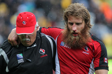 Canadian Adam Kleeberger's Rugby World Cup ended after a clash of heads with All Black Tony Woodcock. Photo / Getty Images.