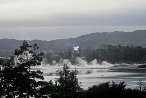 Steam rises on Lake Rotorua, from where an alleged car thief needed to be rescued this morning by a police officer. Photo / Alex Robertson
