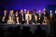 The party's MPs join Prime Minister John Key on stage at the National Party conference. Photo / Michael Craig