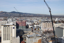 Christchurch CBD skyline with cranes in the Red Zone. Photo / Geoff Sloan