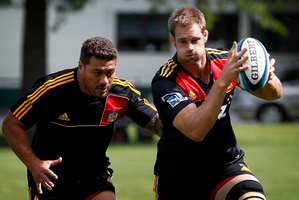 Mahonri Schwalger (L) and Craig Clarke in a Chiefs open training session. Photo / NZ Herald