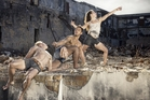 Waka dancers, from left, Daniel McCarroll, Thomas Fonua and Zoe Watkins.