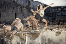 Waka dancers, from left, Daniel McCarroll, Thomas Fonua and Zoe Watkins. Photo / Duncan Cole