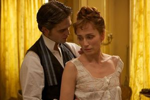 Robert Pattinson (left), here with Kristin Scott Thomas gives a poor performance in Bel Ami. Photo / Supplied