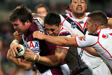 Jamie Lyon of the Sea Eagles pushes forward during the round 21 NRL match between the Manly Warringah Sea Eagles and the Warriors. Photo / Getty Images.