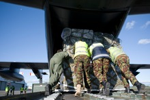 An RNZAF C-130 Hercules is loaded with equipement by Air Movements and Loadmaster personnel. Photo / Supplied