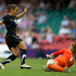 New Zealand Football Ferns player Sarah Gregorius in action against Great Britain's goalkeeper Karen Bardsley. Photo / Brett Phibbs 