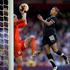 Football Ferns player Sarah Gregorius in action against Great Britain's goalkeeper Karen Bardsley. Photo / Brett Phibbs