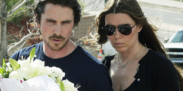 Christian Bale and his wife Sibi Blazic visit a memorial in Aurora, Colorado, to pay their respects to the victims of Friday's mass shooting. Photo / AP