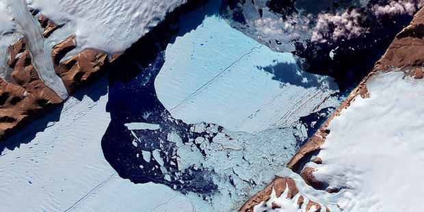 One of the images captured by satellite of an 'unprecedented' melting of Greenland's ice sheet. Photo / NASA