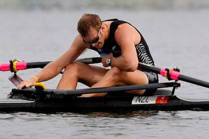 Mahe Drysdale went into Beijing single sculls final with an illness. Photo / Kenny Rodger