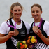 New Zealand rowers Rebecca Scown and Juliette Haigh with their Bronze Medals after winning Bronze in the Women's Pair Final, at Eton Dorney during the 2012 London Olympics. Photo / Brett Phibbs