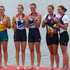 Silver Medalists Australia's Sarah Tait and Kate Horney, Gold Medalists Helen Glover and Heather Stanning with New Zealand rowers Juliette Haigh and Rebecca Scown during the Medal ceremony. Photo / Brett Phibbs