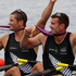New Zealand's Nathan Cohen, left and Joseph Sullivan after winning the gold medal in the Olympic Games double scullsrowing at Eton Dorney, London.  Photo / Mark Mitchell
