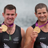 New Zealand Double Scull pair of Nathan Cohen and Joseph Sullivan with their Gold Medals after the Medal Ceremony, after winning Gold in the Men's Double Sculls Rowing Final. Photo / Brett Phibbs