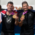 New Zealand Double Sculls pair Joseph Sullivan and Nathan Cohen with their Gold Medals after the Medal Ceremony, after winning Gold in the Men's Double Sculls Rowing Final. Photo / Brett Phibbs
