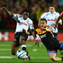Tim Nanai-Williams of the Chiefs and Lwazi Mvovo of the Sharks compete for a loose ball. Photo / Getty Images