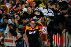 Sonny Bill Williams celebrates his try with the Chiefs fans. Photo / Getty Images
