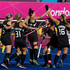 New Zealand Black Sticks celebrate their goal against Australia during the hockey pool match between New Zealand and Australia. Photo / Brett Phibbs