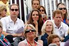 Prince William, Kate Middleton and Prince Harry watching the action during the eventing show jumping at Greenwich Park Equestrian Centre. Photo / Mark Mitchell