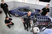 The team at Pulse Performance who built a rotary engine the Mazda men said couldn't be done. Photo / Stuart Munro