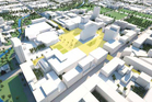 An artisits impression of the recovery building plans for Christchurch. Image / CERA