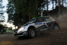Paddon and Kennard fading light on Day One of Rally Finland. Photo / Honza Fronek