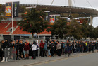 Thousands of Chiefs fans lined up outside the Waikato Stadium this morning to buy tickets to this weekends final match between the Chiefs and the Sharks. Photo / NZ Herald