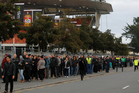 Fans queued for more than 300m outside Waikato Stadium yesterday to buy tickets for the Super 15 final between the Chiefs and the Sharks. Photo / Christine Cornege