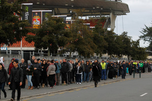 Thousands of Chiefs fans lined up outside the Waikato Stadium this morning to buy tickets to this weekends final match between the Chiefs and the Sharks.  Photo / Christine Cornege