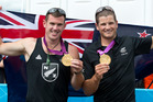 New Zealand Double Sculls pair Joesph Sullivan and Nathan Cohen with their Gold Medals after the Medal Ceremony. Photo / Brett Phibbs