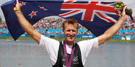 New Zealand's Mahe Drysdale after taking gold in the Olympic Games men's single scull rowing at Eton Dorney, London. Photo / Mark Mitchell
