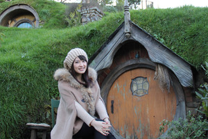HaiYin Chen visited the Hobbit holes in Matamata and other tourist spots. Photo / Supplied
