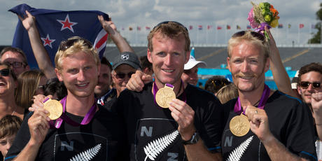 New Zealand rowing gold medallists Hamish Bond, Mahe Drysdale and Eric Murray. Photo / Brett Phibbs