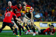 Sonny Bill Williams of the Chiefs passes during the Super Rugby Semi Final match between the Chiefs and Crusaders. Photo / Sandra Mu