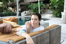 Fashion designer Karen Walker enjoyed fabulous food, swims, entertainment and relaxation during her time on Dolphin Island. Photo / Supplied