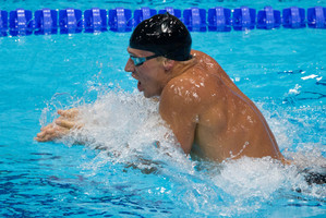 American swimmer Ryan Lochte on the way to his gold in the men's 400m individual medley. Photo / Brett Phibbs