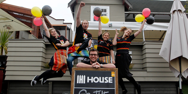 House Bar staff (from left) Rachael Foster, Joseph Baker-Ryan, Amanda Brown, Golde Holzapfel and Jacob Plasmeyer (in front) are excited about the final.  Photo / Christine Cornege