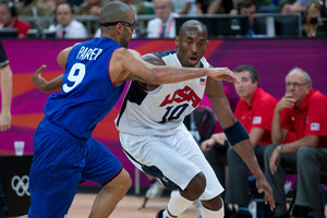 Kobe Bryant and the US 'Dream Team' triumphed over San Antonio Spurs superstar Tony Parker and France 98-71. Photo / Brett Phibbs