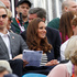 Prince William, Kate Middleton and Prince Harry watching the action during the eventing show jumping at Greenwich Park Equestrian Centre in London. Photo / Brett Phibbs.